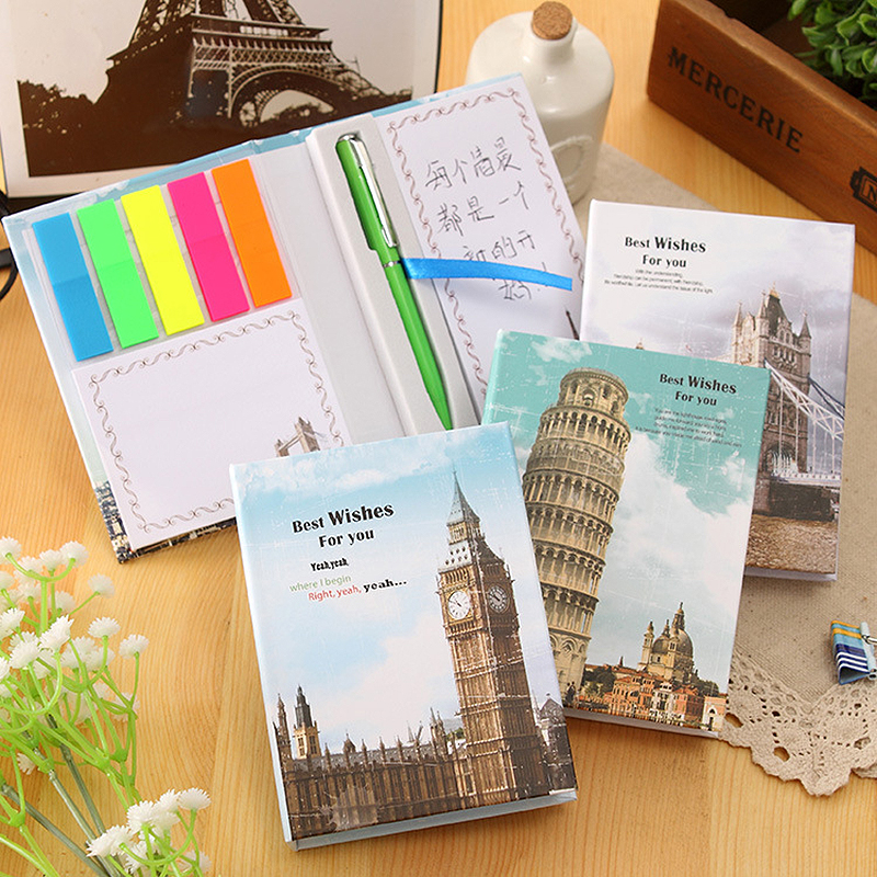 Retro European style memo pad combination sticky note sticker paper post with pen attached kawaii cute school stationery 3B819 mini green pepper style memo pad note paper cyan 150 page