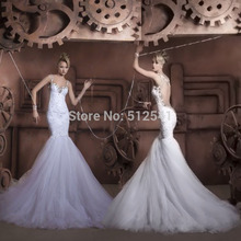 Sheer Open Back Spaghetti Straps Trumpet Mermaid Wedding Dresses Applique Beads Bridal Gowns yk1A575