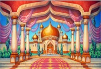 Arabian Aladdin Palace Castle Pillars Hall backdrop polyester or Vinyl cloth High quality Computer print party background