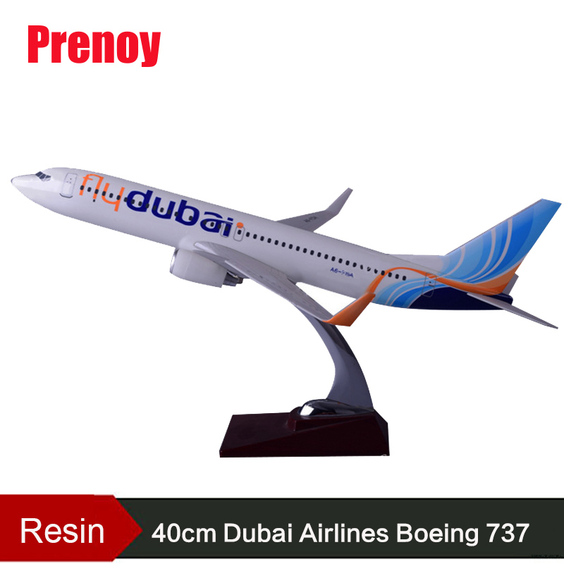 40cm B737-800 Dubai Airlines Aircraft Model Fly Dubai Airplane Airway Resin Boeing 737-800 International Airbus Model Collection