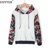 2015 Autumn Women Thick Warm Floral Printed Long Sleeve Hooded Pullover Sweatshirt ZM0092