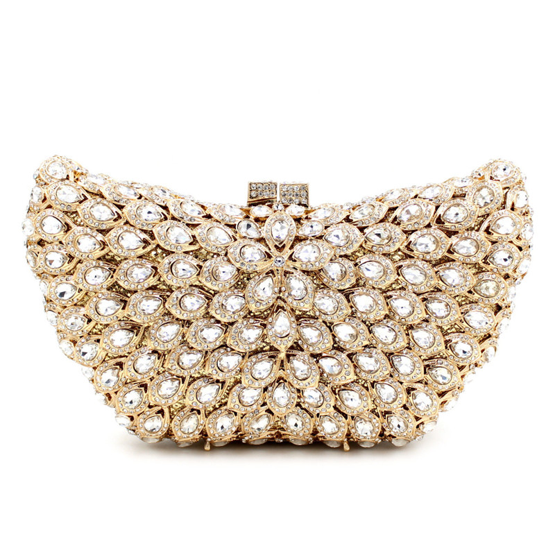 Fashion Crystal Women Evening Bag With Stone Beaded Clutch Bag For Elegant Ladies Banquet Handbag Classic Party Purse