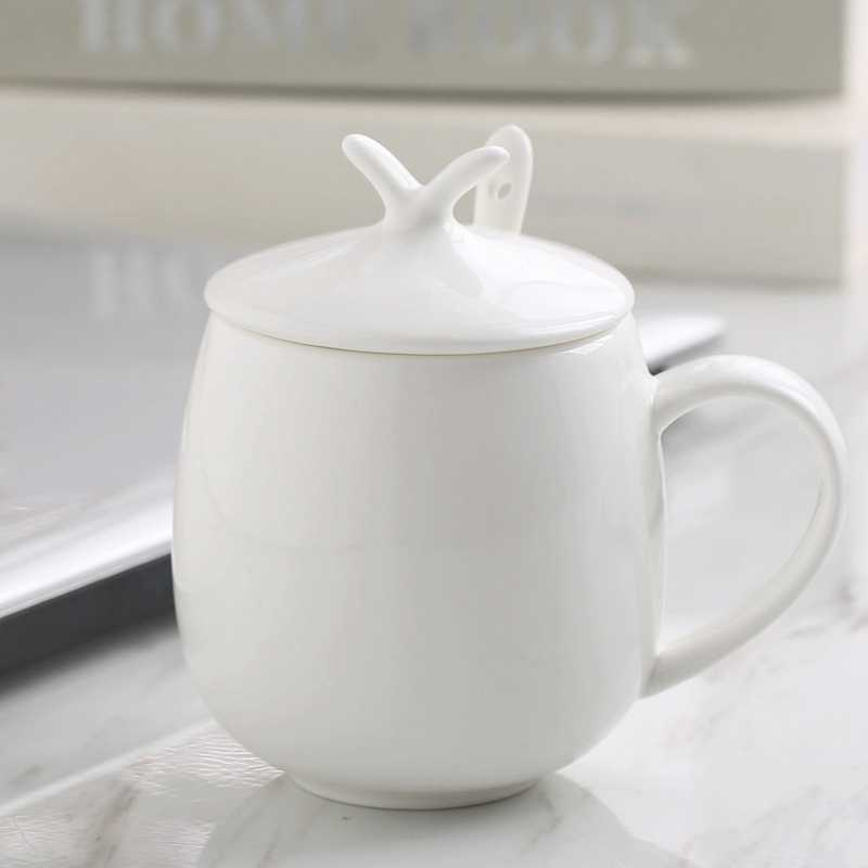430ml Ceramic Bone China Plain White Funny Fat Belly Designed Cup Mug Coffee Morning Water Lid Included