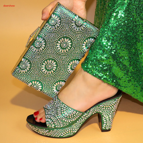 doershow African green Shoes and Matching Bags Italian Shoe and Bag Set for Party In Women Nigerian Women Shoes and Bags SBV1-4 doershow new fashion italian shoes with matching bags for party african shoes and bags set for wedding shoe and bag set wvl1 19