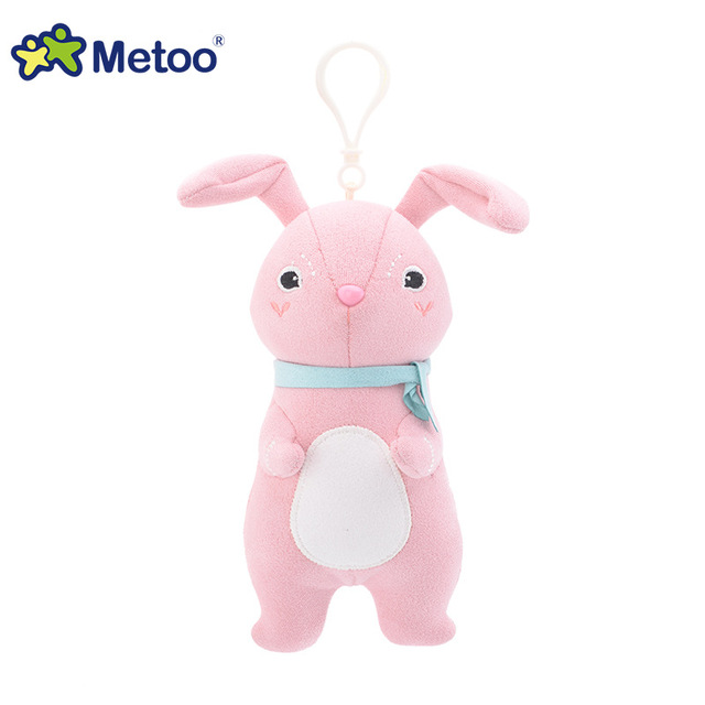 16cm Kawaii Plush Cute Cartoon Stuffed Backpack Pendant Baby Kids Toys for Girls Birthday  Rabbit Bear Fox Metoo Doll