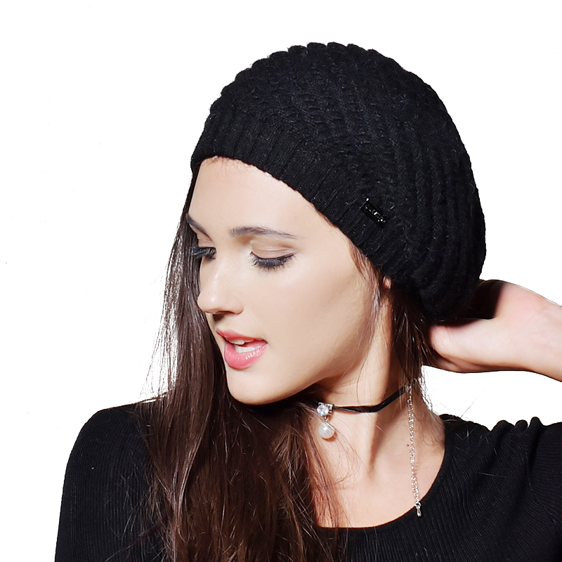 FURTALK women winter beret furtalk knitted mink fur hat for women