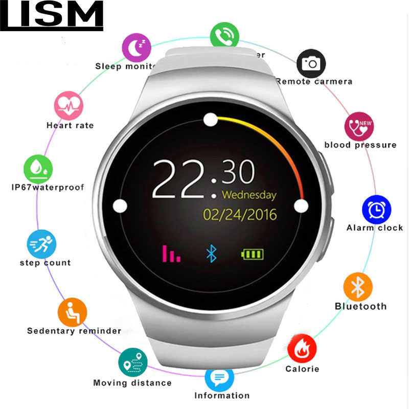 New KingWear  Bluetooth Smart Watch Phone Full Screen KW18 Smartwatch Heart Rate for Android ios Support SIM TF Card MEN TOP