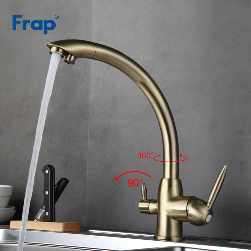 Frap Purification Kitchen Faucets Deck Mounted 180 Degree Rotation Mixer Tap Hot and Cold Water Tap