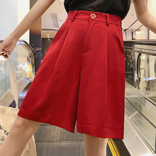 XXXL Новые широкие шорты до колена модные летние женские шорты с высокой талией повседневные однотонные черные красные шорты свободные шорты