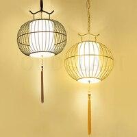 Китайский клетка для птиц подвесные светильники Новый античный кованого железа творческий ретро ресторан бар чайхана золотой черный лампы