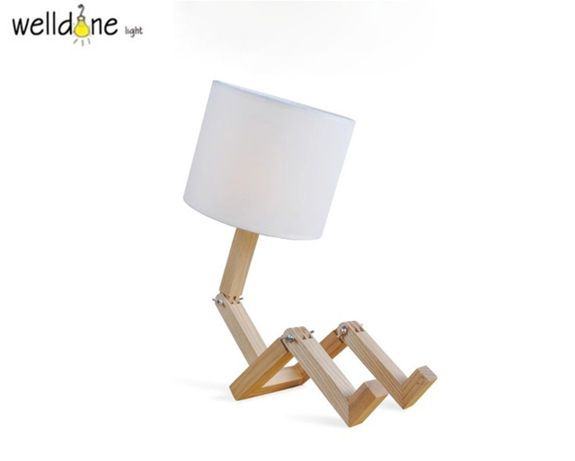 Nordic wood robot folding creative desk lamp kids study bedroom nordic wood robot folding creative desk lamp kids study bedroom decoration bedside table lamp with led mozeypictures Image collections