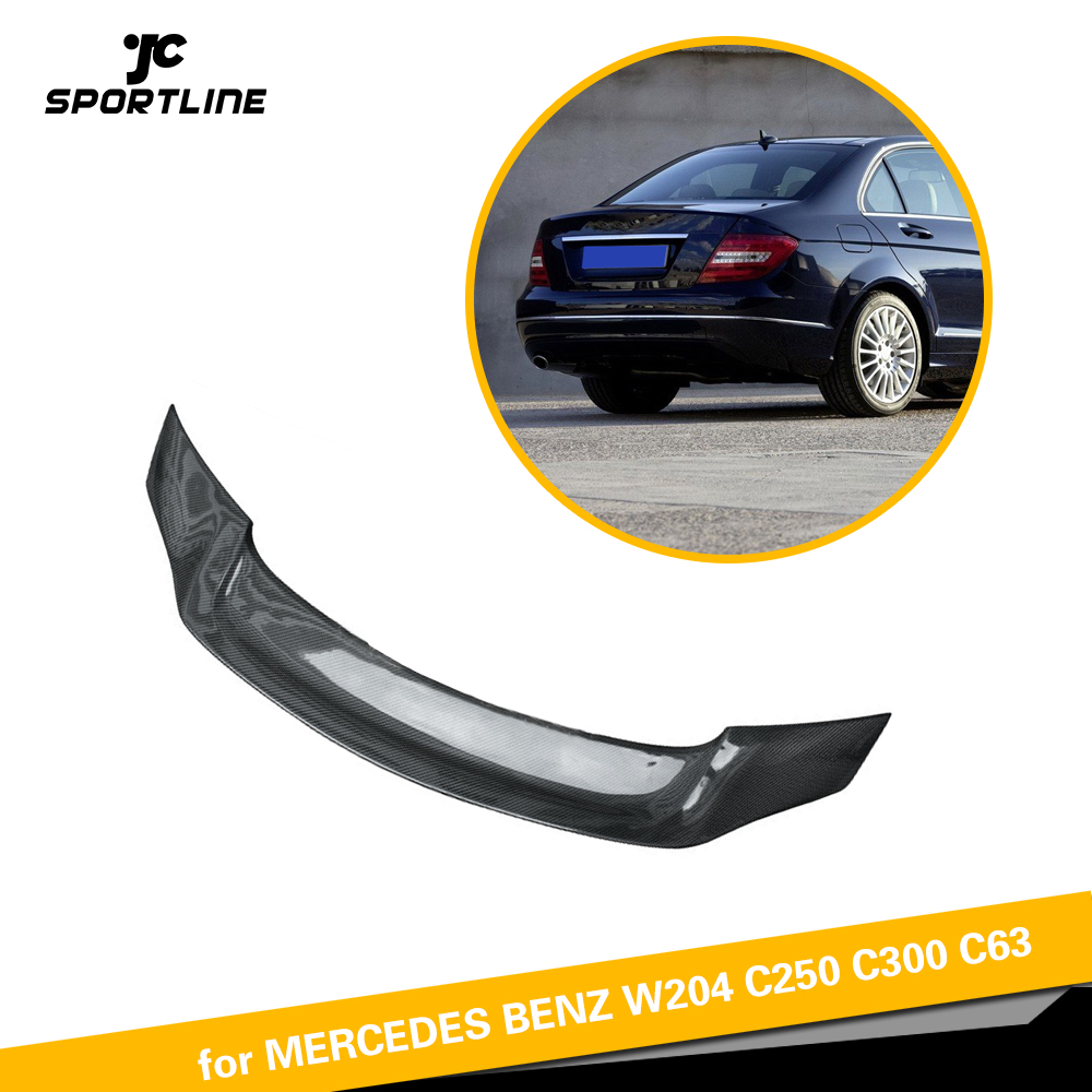 For <font><b>Mercedes</b></font>-Benz W204 C200 C250 <font><b>C300</b></font> C63 AMG Sedan 4 Door 2007 - 2013 Carbon Fiber Rear Trunk Spoiler Boot Lip Wing Lip image