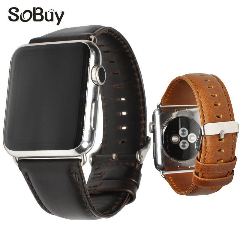 Lxsmart for Apple Watch leather strap iwatch wrist bracelet 42mm 38mm s1 watch series 1/2/3 Table chain S2 Genuine Cowhide band cowhide genuine leather strap watch band for apple watch iwatch series 1 series 2 38mm 42mm wristband replacement with adapter