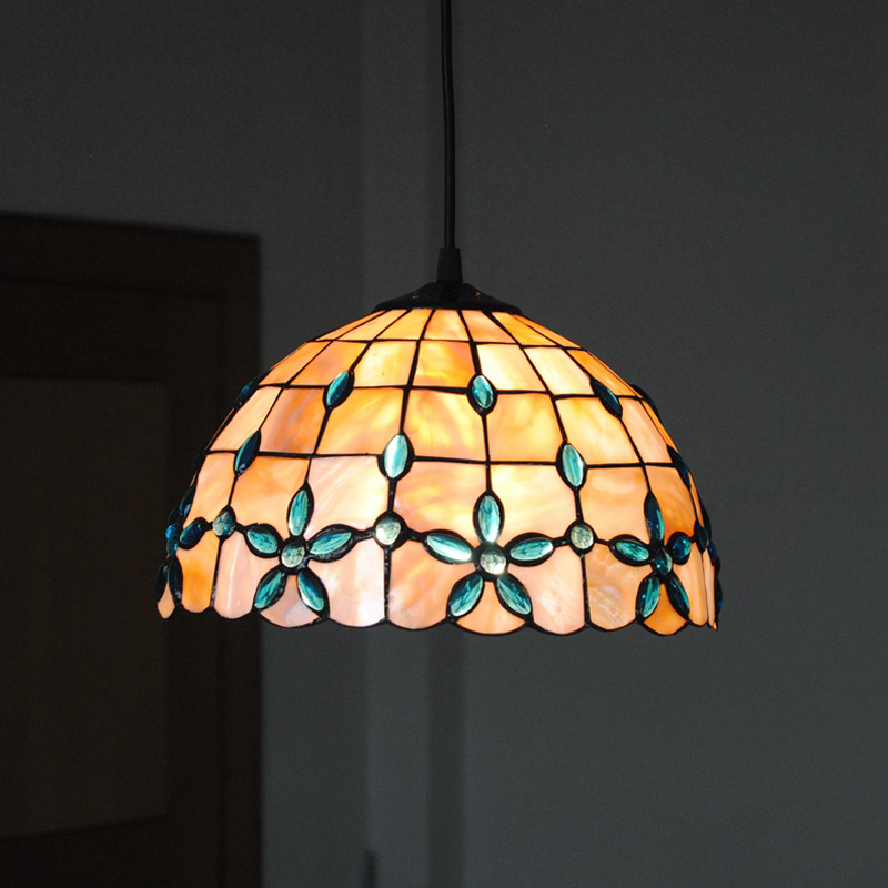 New E26 E27 Tiffany Shell Pendant Lamp European Retro Stained Glass Hanging Light Dining Room Living Lighting Fixture PL607 In Lights From
