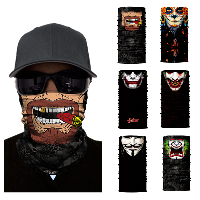Motorcycle Face Mask Halloween Scarf Mask Face Shield Head Scarf Neck Warmer Windproof Sun Mask Balaclava Motorcycle Biker Masks