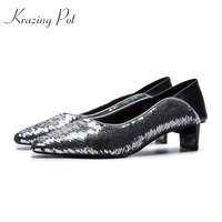 Krazing Pot new sequined cloth bling cow leather pointed toe low heel brand slip on wedding dress dating star of party pumps L72
