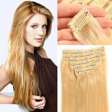 Clip In Straight Human Hair Extensions Full Head set 100% Brazilian Human Hair Clip On Extensions 20″22″Human Hair Clipins