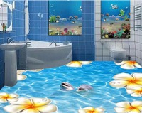 3d floor painting wallpaper Sea water dolphin flower water ripples 3D floor painting waterproof wall murals 3d flooring