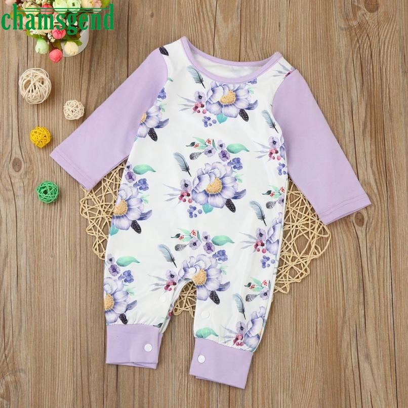 CHAMSGEND Fashion Purple Newborn Infant Baby Kids Girls O-Neck Cotton Floral Long Sleeve Romper Jumpsuit Clothes Outfit ag3 P30