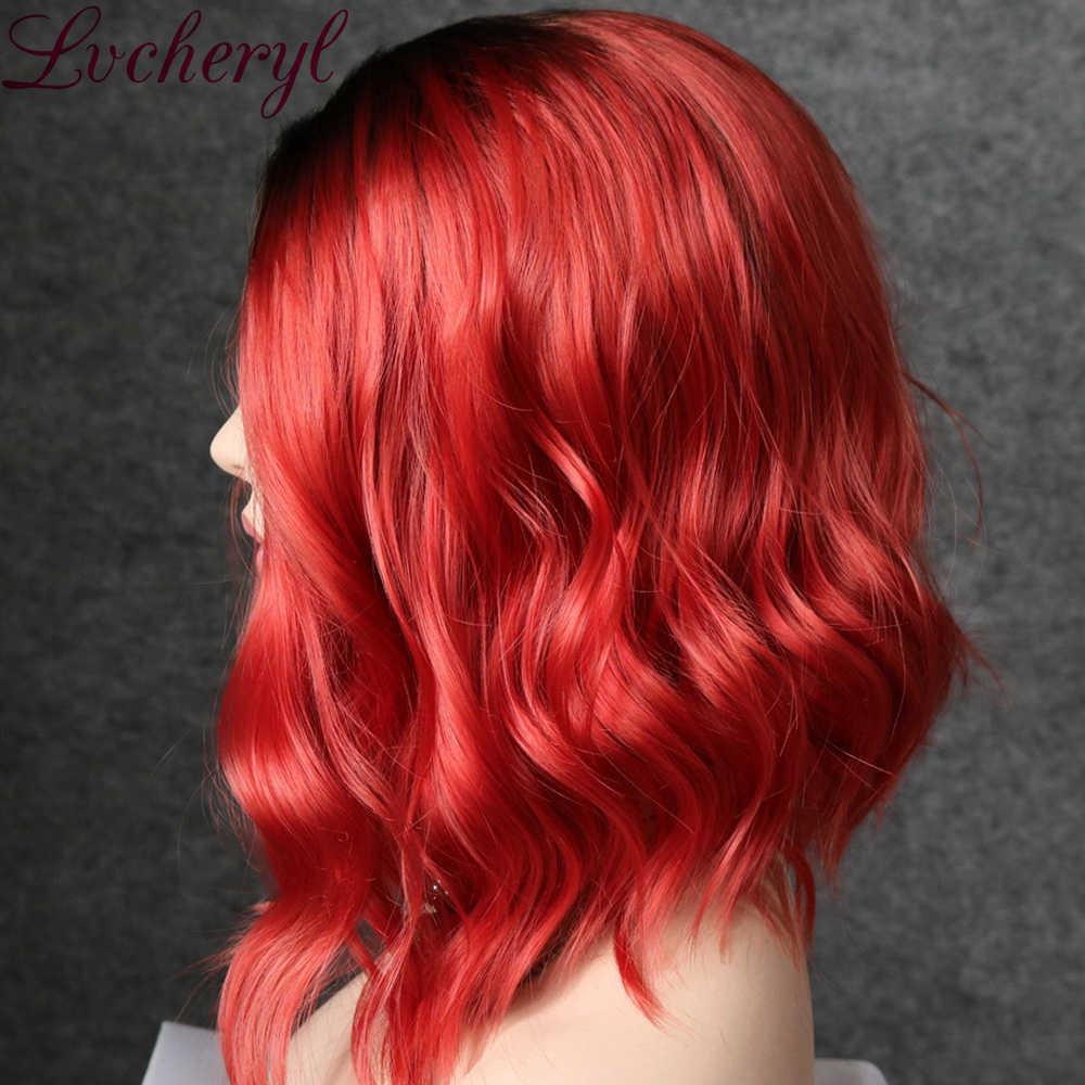 Lvcheryl czarny do czerwonego kolor krótki falowane syntetyczne koronki przodu peruki żaroodporne włosy przednie włosów koronki Party peruki dla kobiet