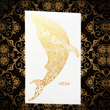 Gold Metallic Waterproof Temporary Tattoo Whale Dolphins Designs Fake Golden Tattoo Stickers AGH034 Women Body Art ARm Tatoos