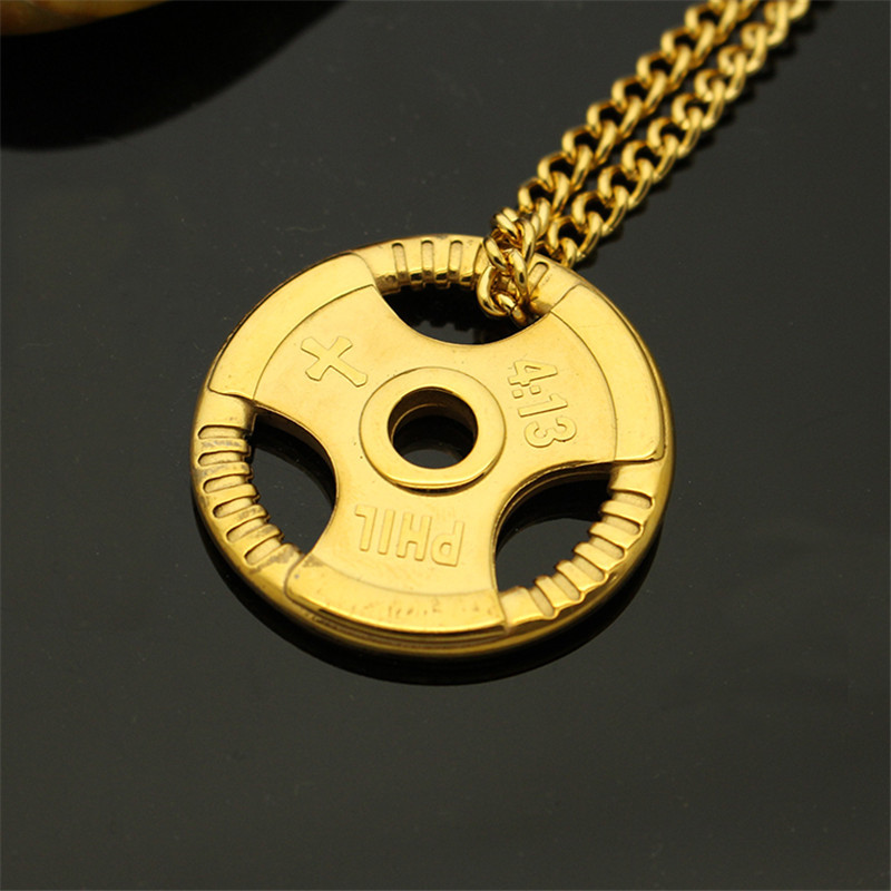 1Pcs EDC Pocket Tool Copper Tide Brand Steering Wheel Pendants Brass Dumbbell Knife Pendant Necklace Couple Retro Pendant image