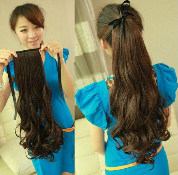 Maga Thick Tie Up Ponytail Clip In Pony Tail Hair Extensions Long Real Natural Piece