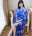 Плюс Размер Мода Дамы Лето Сексуальная Кимоно Длинный Халат Ванна Платье Синий женская Район Юката Ночная Рубашка Pijama Mujer Mds010