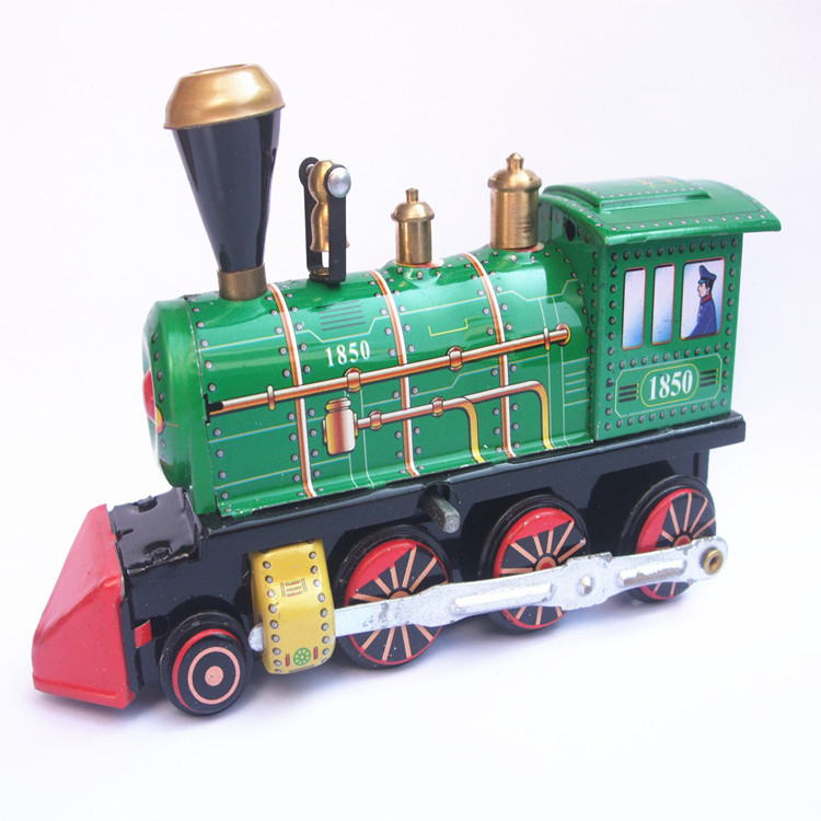Adult Collection Retro Wind up toy Metal Tin The locomotive Mechanical toy Clockwork toy figures model kids christmas gift
