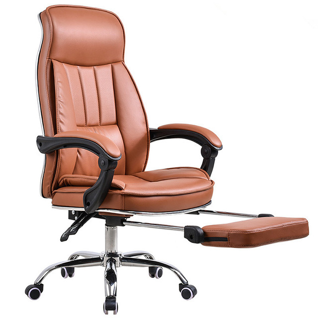 Tall Deluxe Reclining Office Chair With Footrest Stool Swivel Executive Pu High Backrest Computer Desk