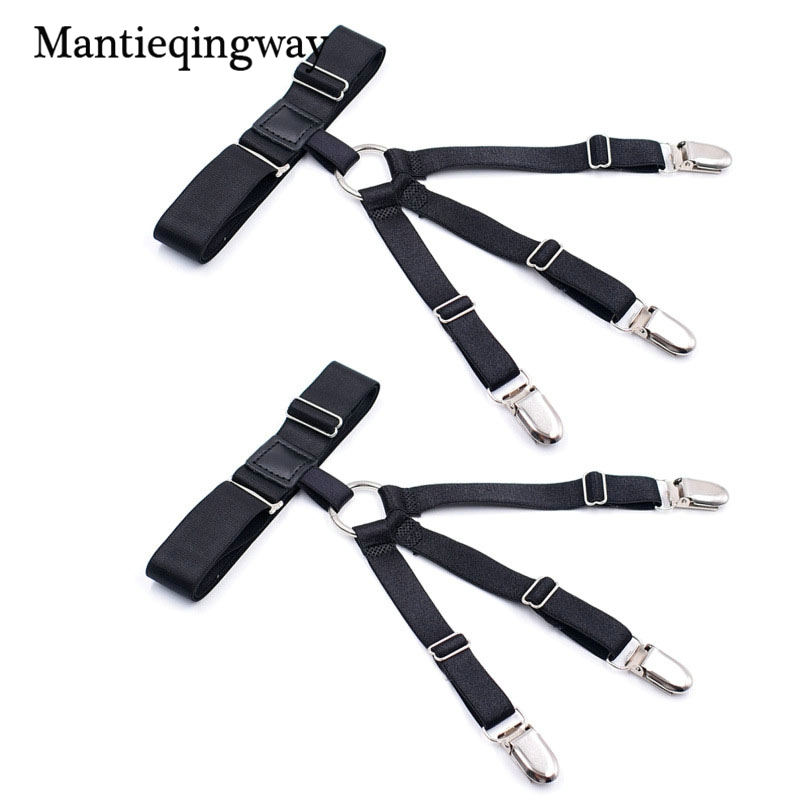 Mantieqingway 1 Pair Adjustable Legs Belts For Men& Women Unisex Shirt Holders Suspenders Mens Strap Shirt Stays Garters Suit