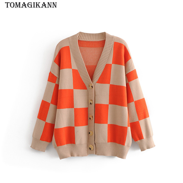 85a10372b64f Women Sweater 2018 Autumn Casual Contrast Colors Plaid Knitted ...