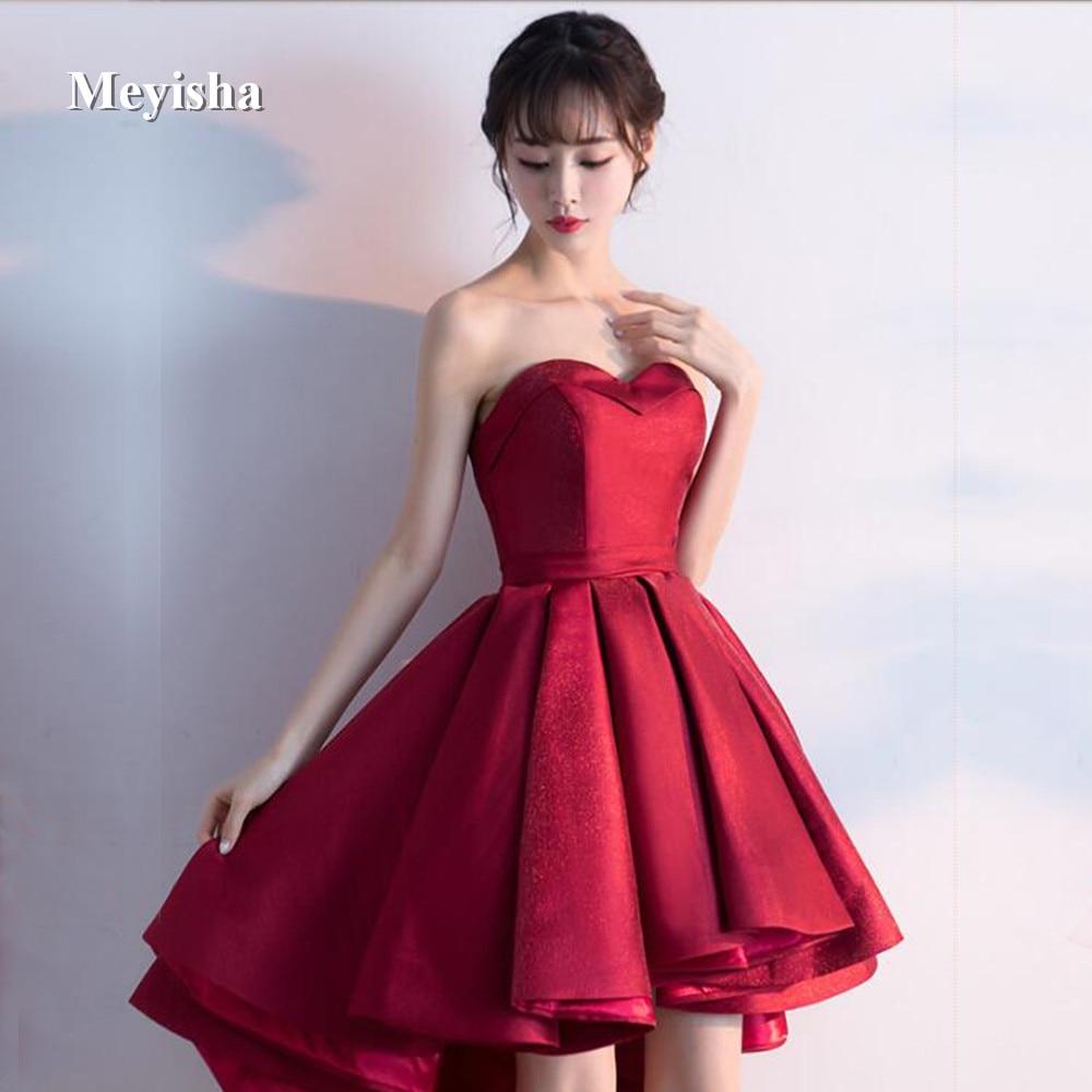 Hot Sale Zj7008 2018 High Low Prom Dress Knee Length Burgundy