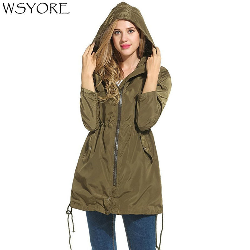 WSYOR   Trench   Coats 2018 New Autumn Women's Waterproof Zipper Hooded Long-sleeved Weatherproof Long Windbreaker Raincoat NS517