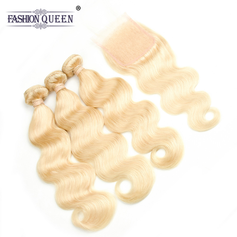 Brazilian 613 Blonde Bundles with Closure Brazilian Body Wave Virgin Hair 3 Bundles with Closure 4x4 Lace Closure with Bundles ...
