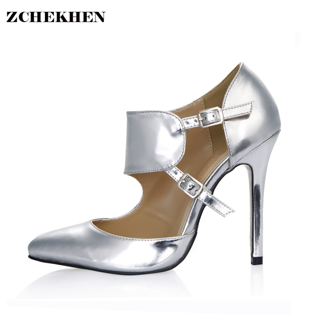 2018 Luxury brands Spring Women Pumps Sexy Gold Silver thin High Heels  Shoes Fashion Pointed Toe Wedding Party boots 0640-22a 2f8cd1bf9464