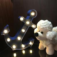 11LEDs Anchor Marquee Sign Light Anchor Shaped LED Lamp Night Light Battery Operated For Christmas Home