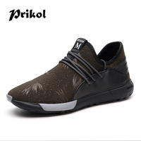 Prikol Luxury Brand Summer Men Sport Shoes Breathable Sneakers Athletic Cow Leather Mesh Tennis Shoes Fitness Outdoor