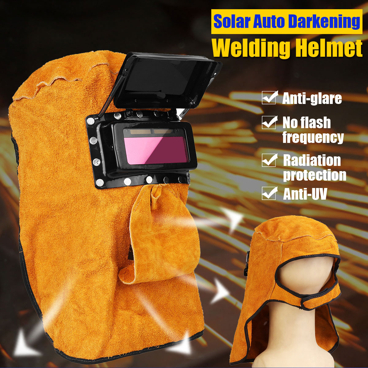 FORGELO Leather Hood Welding Helmet Automatic Light Welding Mask With Air Hole Radiation Splash Protection Solar Welding Helmet newest welding glass anti collision version welding eye protection glass welding helmet pc welding mask