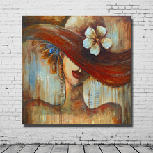 Beautiful lady wear a hat classical beauty woman sexy dressing comfor room design living room art painting