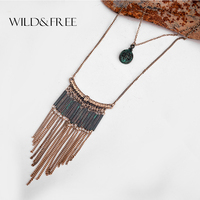 Women Vintage Alloy Tassel Pendant Necklace Antique Gold Long Chain Patina Metal Tube Pendant Ethnic Collar
