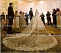 New  4 M  velo de novia 2016 One Tiers Lace Edge Purfle Long Cathedral Tulle Wedding Veils Bridal Accessorie Free Comb