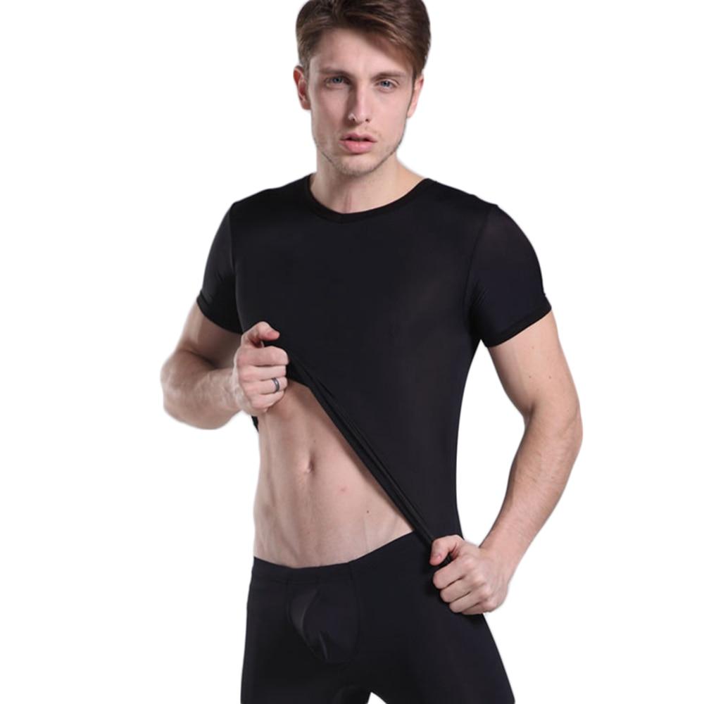 Aufrichtig Ultradünne Nylon Herren T-shirts Sehr Weich Männer Bodysuit Sexy Hülse Unterhemd Sheer Homosexuell Männer Kleidung Homosexuell Herren Unterhemden