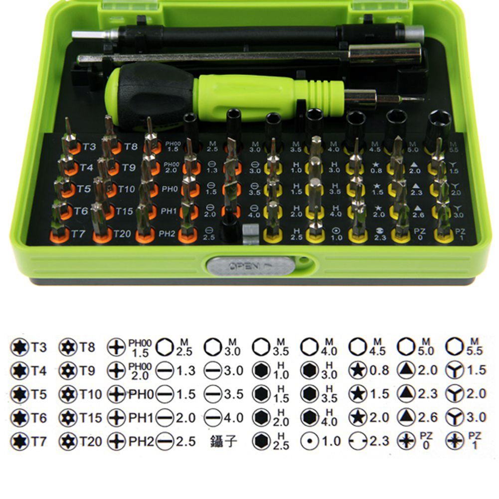 Professional Excellent 53 in1 Multi-Bit PrecisionTorx Screwdriver Tweezer Cell Laptop Phone Repair Tool Drop shipping