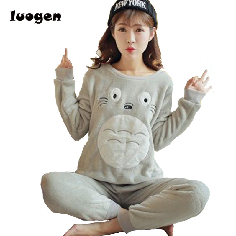 Autumn Winter Women Warm Pajamas Sets of Sleepcoat & Trousers Lady Lounge Cartoon Totoro Flannel Sleepwear Female Home Clothing