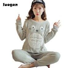 Autumn Winter Women Warm Pajamas Sets of Sleepcoat Trousers Lady Lounge Cartoon Totoro Flannel Sleepwear Female