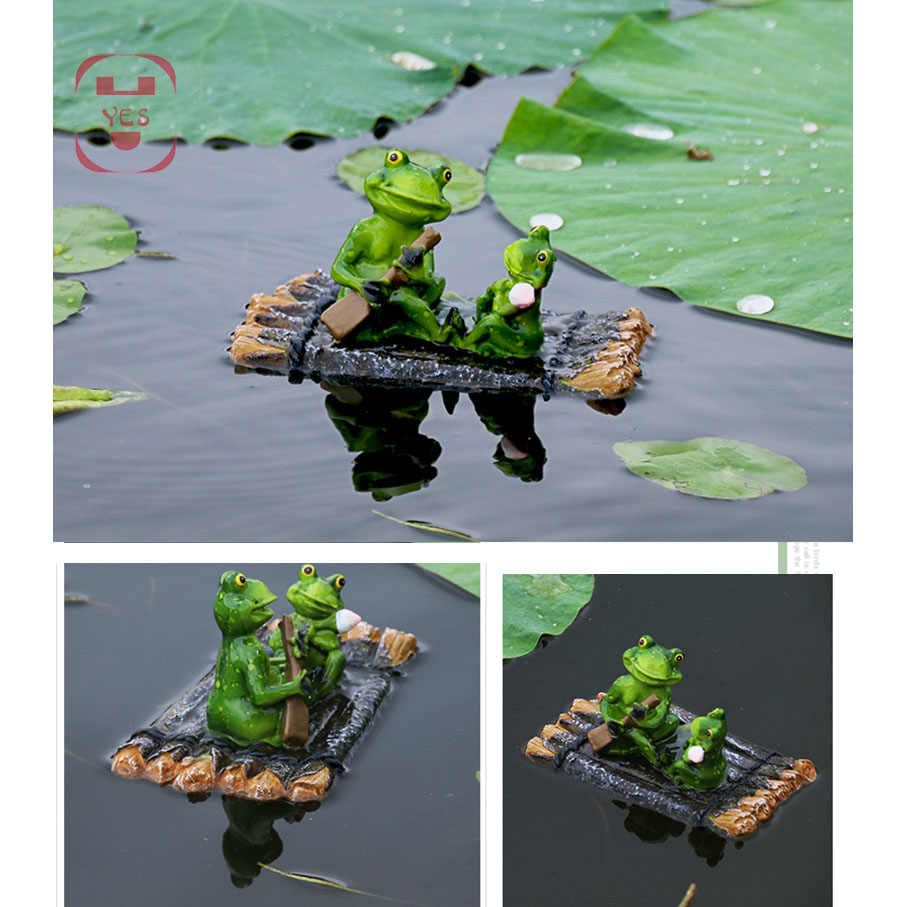 Resin Floating Bamboo raft Frog Statue duck Sculpture Outdoor Garden Pond Decorative Home  Fish Tank Garden Decor Desk Ornament