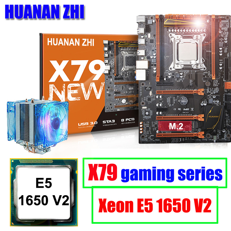 Computer hardware HUANAN ZHI deluxe X79 LGA2011 gaming motherboard with M.2 slot CPU <font><b>Intel</b></font> <font><b>Xeon</b></font> <font><b>E5</b></font> <font><b>1650</b></font> <font><b>V2</b></font> 3.5GHz with cooler image