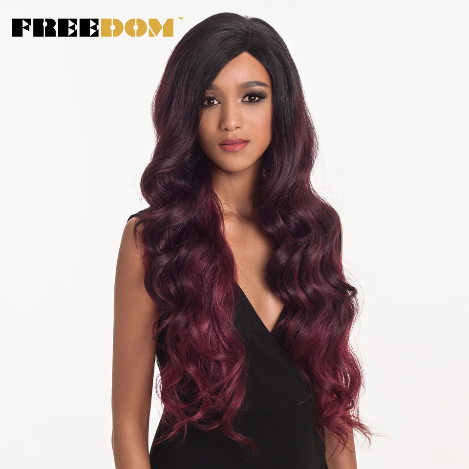 Liberté cheveux dentelle avant ombre blonde perruque 28 pouces Long ondulé rouge afro-américaine synthétique perruques 2 couleur livraison gratuite