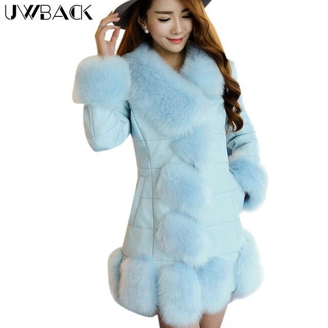 Uwback 2017 Brand Faux Fur Coat Women PU Leather Coat  With Fox Fur Trim Long Windbreaker Jackets Femme Plus Size 4XL OB325